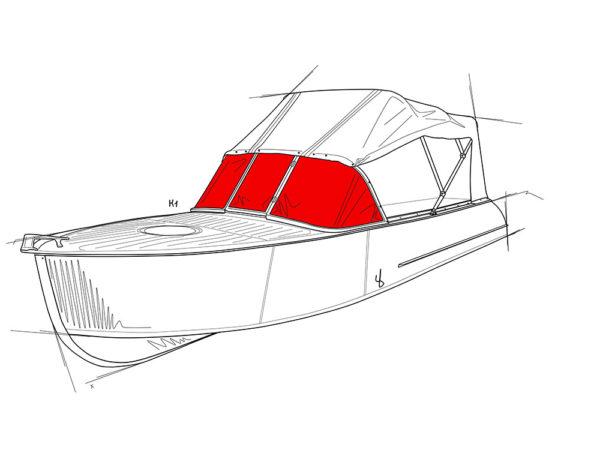Казанка-1.<br>Стекло в рамке с калиткой для выхода на нос 1