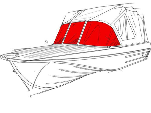 Казанка-5.<br>Стекло в рамке с калиткой для выхода на нос 1