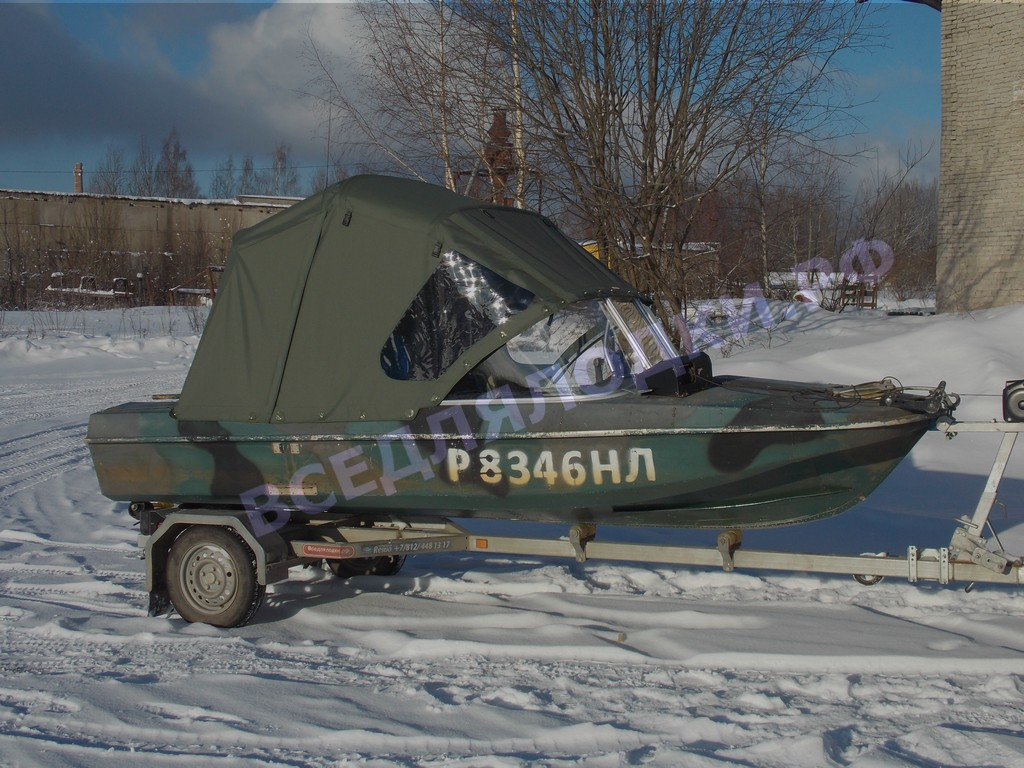 Ходовой тент на лодку Обь-3.