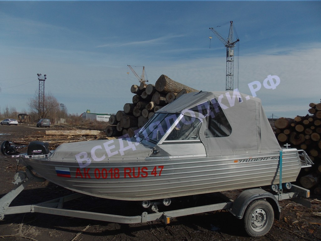 Тент с дугами на лодку Трайдент 450 Фиш. Trident 450